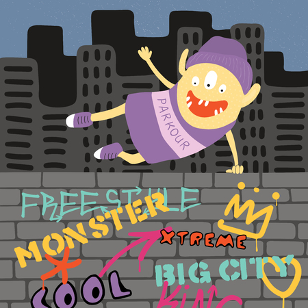 Hand drawn vector illustration of a cute funny parkour monster jumping over the wall with graffiti, with city skyline in the background. Isolated objects. Concept for children print.