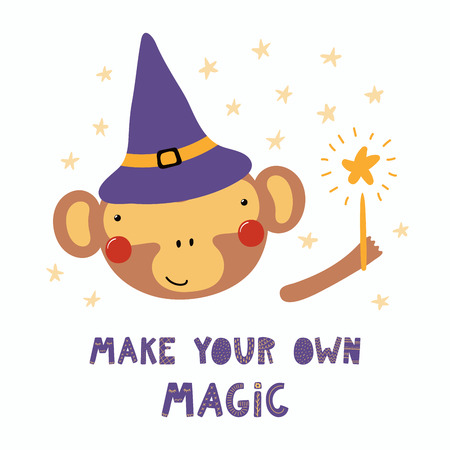 Hand drawn vector illustration of a cute funny monkey in a witch hat, holding magic wand, with quote Make your own magic. Isolated objects. Scandinavian style flat design. Concept for children print.