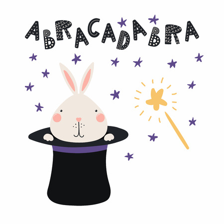 Hand drawn vector illustration of a cute funny bunny appearing from magician top hat, with lettering quote Abracadabra. Isolated objects. Scandinavian style flat design. Concept for children print.