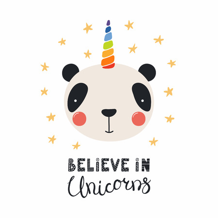 Hand drawn vector illustration of a cute funny panda with a unicorn horn, lettering quote Believe in unicorns. Isolated objects. Scandinavian style flat design. Concept for children print. 일러스트