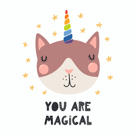 Hand drawn vector illustration of a cute funny cat with a unicorn horn, lettering quote You are magical. Isolated objects. Scandinavian style flat design. Concept for children print. Illustration