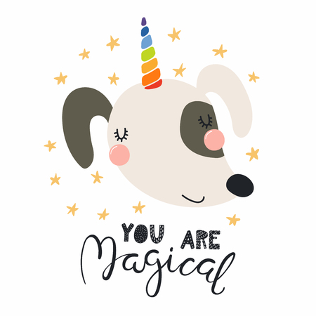 Hand drawn vector illustration of a cute funny dog with a unicorn horn, lettering quote You are magical. Isolated objects. Scandinavian style flat design. Concept for children print.