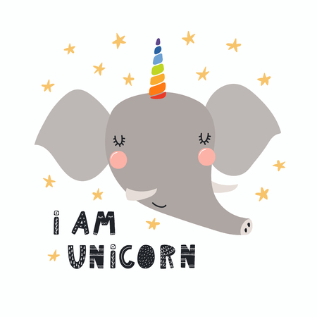 Hand drawn vector illustration of a cute funny elephant with a unicorn horn, lettering quote I am unicorn. Isolated objects. Scandinavian style flat design. Concept for children print.