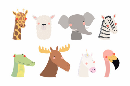 Set of cute funny animals unicorn, zebra, llama, flamingo, giraffe, moose, crocodile, elephant. Isolated objects on white . Vector illustration. Scandinavian style flat design Concept children print