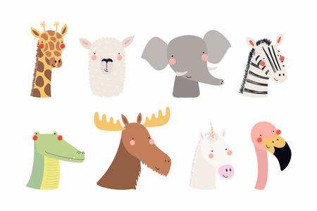 Satz niedliche lustige Tiere Einhorn, Zebra, Lama, Flamingo, Giraffe, Elch, Krokodil, Elefant. Isolierte Objekte auf Weiß. Vektorillustration. Flaches Design im skandinavischen Stil Konzept Kinderdruck Standard-Bild - 102161080