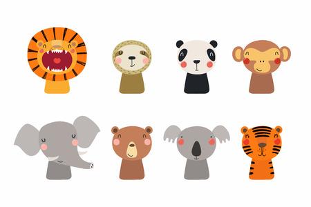 Set of cute funny little animals bear, koala, panda, lion, sloth, monkey, elephant, tiger. Isolated objects on white. Vector illustration. Scandinavian style flat design. Concept for children print