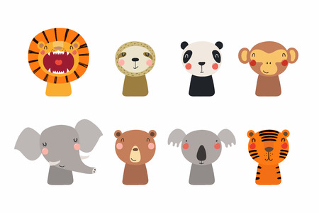 Set of cute funny little animals bear, koala, panda, lion, sloth, monkey, elephant, tiger. Isolated objects on white. Vector illustration. Scandinavian style flat design. Concept for children print