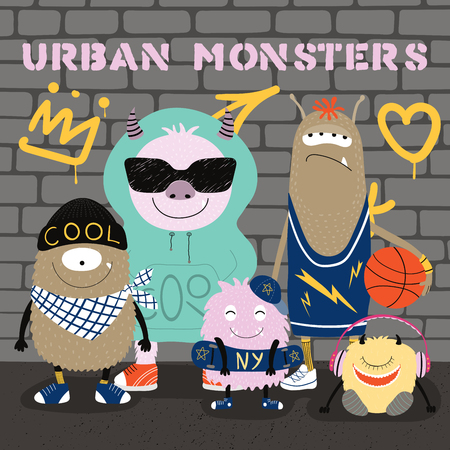 Hand drawn vector illustration of a group of cute funny modern city monsters with a wall with graffiti in the background.. Isolated objects. Concept for children print.