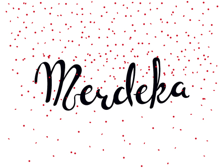 Hand written calligraphic lettering quote Merdeka meaning independence in Malay, Indonesian. Isolated objects on white background. Vector illustration. Design concept for banner, greeting card. 일러스트
