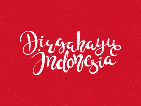 Hand written calligraphic lettering quote Dirgahayu, meaning Long live in Indonesian, Indonesia. Isolated objects on red background. Vector illustration. Design concept for banner, greeting card.