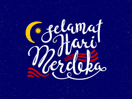 Hand written calligraphic lettering quote Selamat Hari Merdeka, meaning Happy Independence Day in Malay, with decorative elements. Isolated objects. Vector illustration. Design concept banner, card.