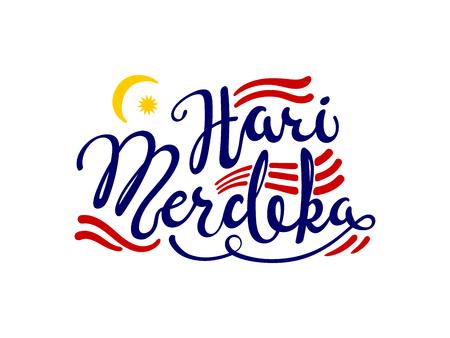 Handgeschriebenes kalligraphisches Schriftzugzitat Hari Merdeka, was Unabhängigkeitstag auf Malaiisch bedeutet. Isolierte Objekte auf weißem Hintergrund. Vektorillustration. Designkonzept für Banner, Grußkarte. Vektorgrafik