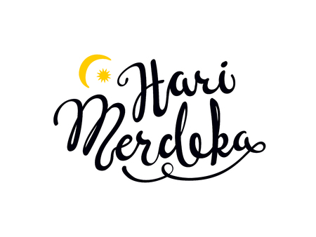 Hand written calligraphic lettering quote Hari Merdeka, meaning Independence Day in Malay. Isolated objects on white background. Vector illustration. Design concept for banner, greeting card. Illustration