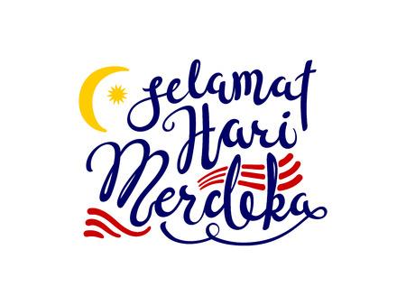Cita de letras caligráficas escritas a mano Selamat Hari Merdeka, que significa Feliz Día de la Independencia en malayo. Objetos aislados sobre fondo blanco. Ilustración de vector. Concepto de diseño de banner, tarjeta. Ilustración de vector