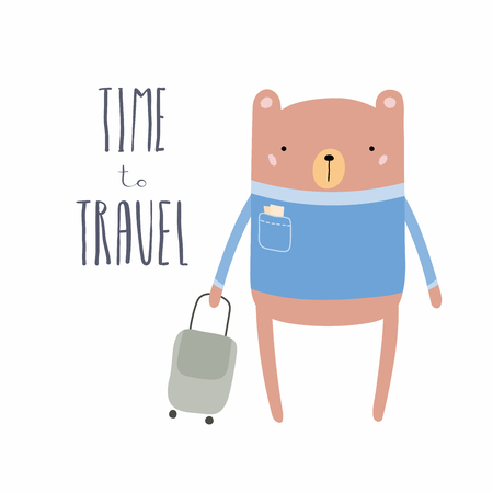 Hand drawn vector illustration of a cute funny bear with suitcase, lettering quote Time to travel. Isolated objects. Scandinavian style flat design. Concept for children print, summer holidays.