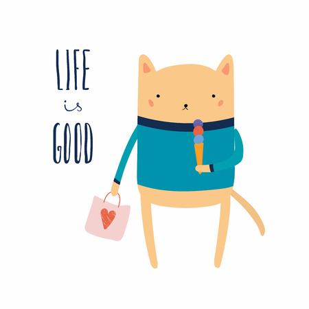 Hand drawn vector illustration of a cute funny cat with ice cream, shopping bag, lettering quote Life is good. Isolated objects. Scandinavian style flat design. Concept for children print, holidays.