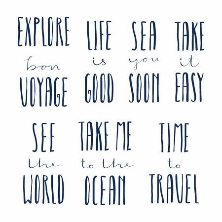 Set of hand written calligraphic lettering quotes about summer holidays. Isolated objects. Vector illustration. Concept for children print, vacations, summertime, travelling.