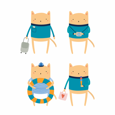Hand drawn vector illustration of cute funny cat on summer holidays. Isolated objects. Scandinavian style flat design. Concept for children print. Illustration