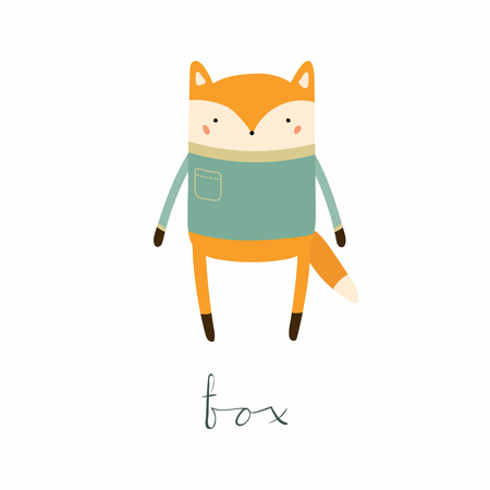 Hand drawn vector illustration of a cute funny fox in sweater, with calligraphic hand written quote. Isolated objects. Scandinavian style flat design. Concept for children print.