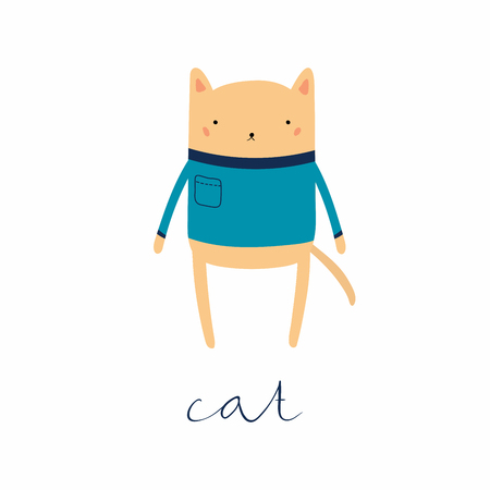 Hand drawn vector illustration of a cute funny cat in sweater, with calligraphic hand written quote. Isolated objects. Scandinavian style flat design. Concept for children print.