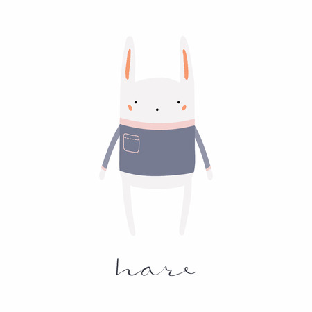 Hand drawn vector illustration of a cute funny hare in sweater, with calligraphic hand written quote. Isolated objects. Scandinavian style flat design. Concept for children print. Foto de archivo - 102934274