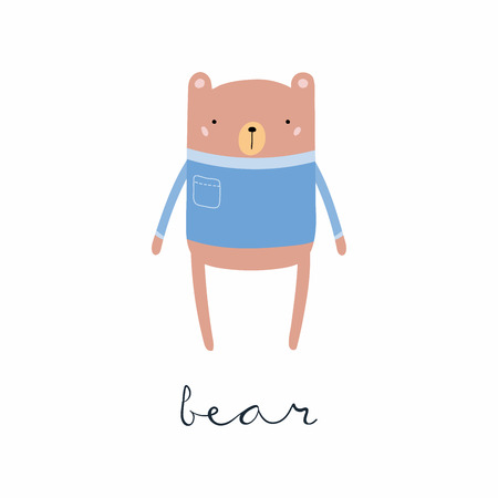 Hand drawn vector illustration of a cute funny bear in sweater, with calligraphic hand written quote. Isolated objects. Scandinavian style flat design. Concept for children print.
