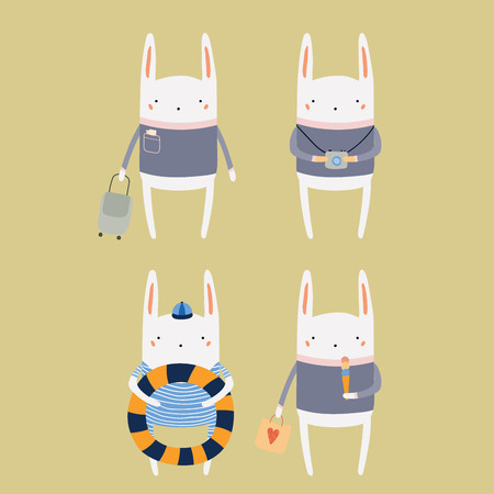 Hand drawn vector illustration of cute funny bunny on summer holidays. Isolated objects. Scandinavian style flat design. Concept for children print.