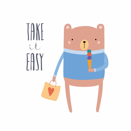 Hand drawn vector illustration of a cute funny bear with ice cream, shopping bag, lettering quote Take it easy. Isolated objects. Scandinavian style flat design. Concept for children print, holidays.