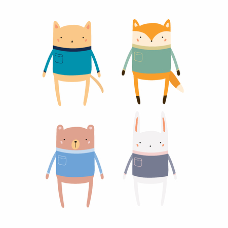 Set of cute funny animals in sweaters. Isolated objects. Hand drawn vector illustration. Scandinavian style flat design. Concept for children print. Illustration