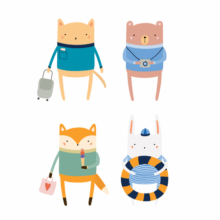 Set of cute funny animals on summer holidays. Isolated objects. Hand drawn vector illustration. Scandinavian style flat design. Concept for children print. Stock Illustratie