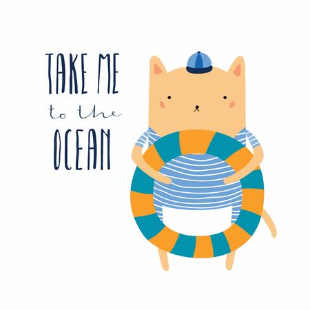 Hand gezeichnete Vektorillustration einer niedlichen lustigen Katze mit Poolschwimmer, Beschriftungszitat Nehmen Sie mich zum Ozean. Isolierte Objekte. Flaches Design im skandinavischen Stil. Konzept für Kinder drucken, Sommerferien.