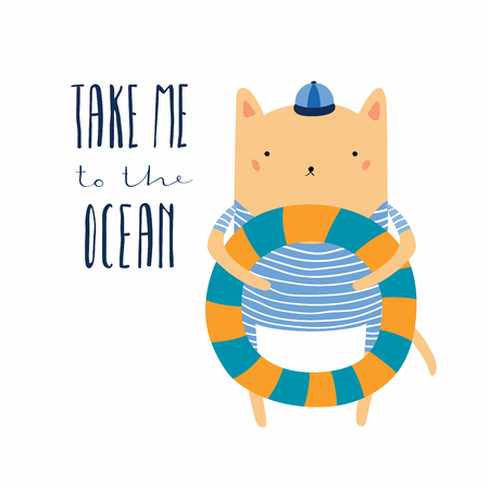 Hand drawn vector illustration of a cute funny cat with pool float, lettering quote Take me to the ocean. Isolated objects. Scandinavian style flat design. Concept for children print, summer holidays.