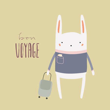 Hand drawn vector illustration of a cute funny bunny with suitcase, lettering quote Bon voyage. Isolated objects. Scandinavian style flat design. Concept for children print, summer holidays. Stock Illustratie