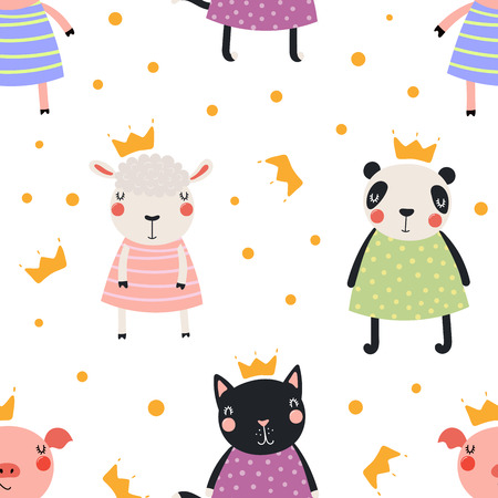 Hand drawn seamless vector pattern with cute animal princesses in crowns, on a white background. Scandinavian style flat design. Concept for children, textile print, wallpaper, wrapping paper.