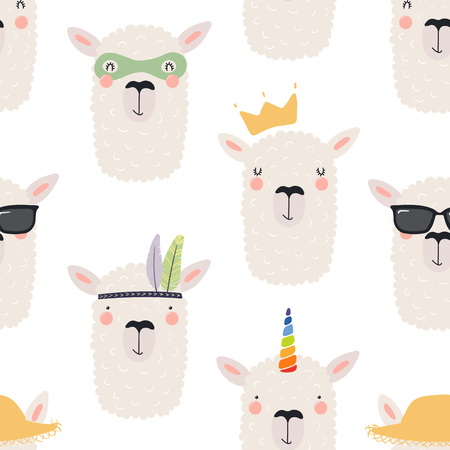 Hand drawn seamless vector pattern with different cute llama faces, on a white background. Scandinavian style flat design. Concept for children, textile print, wallpaper, wrapping paper. Illustration
