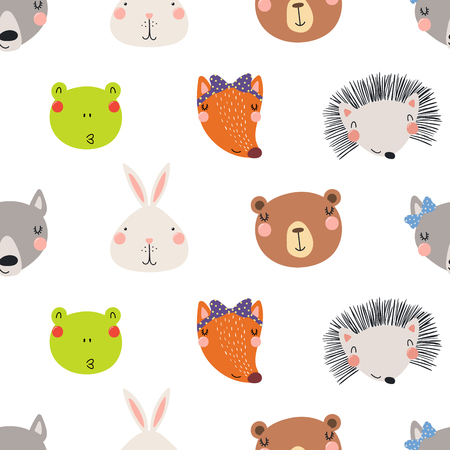 Hand drawn seamless vector pattern with different cute woodland animals faces, on a white background. Scandinavian style flat design. Concept for children, textile print, wallpaper, wrapping paper.