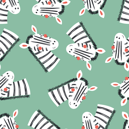 Hand drawn seamless vector pattern with cute zebra faces, on a green background. Scandinavian style flat design. Concept for children, textile print, wallpaper, wrapping paper. Vettoriali