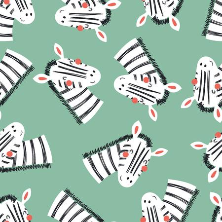 Hand gezeichnetes nahtloses Vektormuster mit niedlichen Zebragesichtern, auf einem grünen Hintergrund. Flaches Design im skandinavischen Stil. Konzept für Kinder, Textildruck, Tapete, Geschenkpapier. Standard-Bild - 102934287
