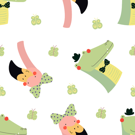 Hand drawn seamless vector pattern with cute flamingo and crocodile faces, on a white background. Scandinavian style flat design. Concept for children, textile print, wallpaper, wrapping paper.