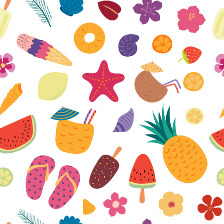 Hand drawn seamless vector pattern with different summer elements, on a white background. Scandinavian style flat design. Concept for children, textile print, wallpaper, wrapping paper. Illustration