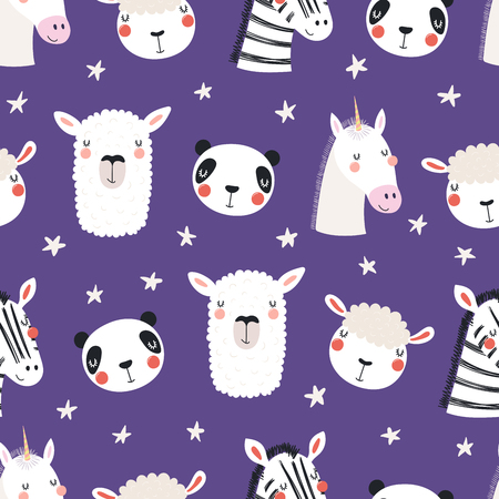 Hand drawn seamless vector pattern with different cute sleepy animals, stars, on a violet background. Scandinavian style flat design. Concept for children, textile print, wallpaper, wrapping paper.