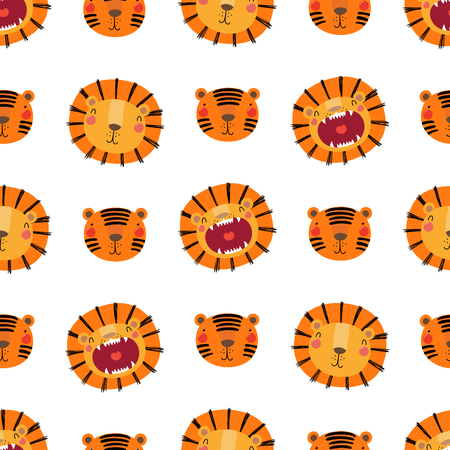 Hand drawn seamless vector pattern with cute lion and tiger faces, on a white background. Scandinavian style flat design. Concept for children, textile print, wallpaper, wrapping paper.