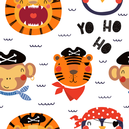 Hand drawn seamless vector pattern with different cute pirate animals, on a white background. Scandinavian style flat design. Concept for children, textile print, wallpaper, wrapping paper. Illustration