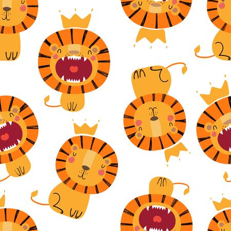 白い背景に、クラウンでかわいいライオンと手描きシームレスなベクトルパターン。スカンジナビアスタイルのフラットなデザイン。子供のためのコンセプト、テキスタイルプリント、壁紙、包装紙。 写真素材 - 102934516