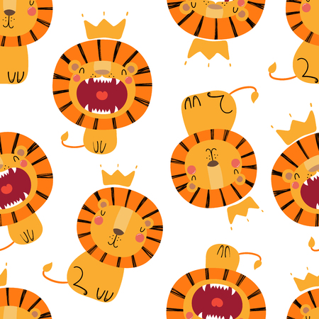 Hand drawn seamless vector pattern with cute lions in crowns, on a white background. Scandinavian style flat design. Concept for children, textile print, wallpaper, wrapping paper.