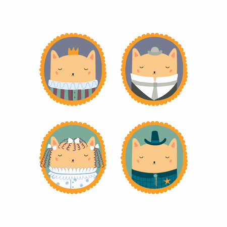Set of hand drawn cute funny portraits in frames of cats, king, sheriff, Victorian gentleman, lady. Vector illustration. Isolated objects. Scandinavian style flat design. Concept for children print. Illustration
