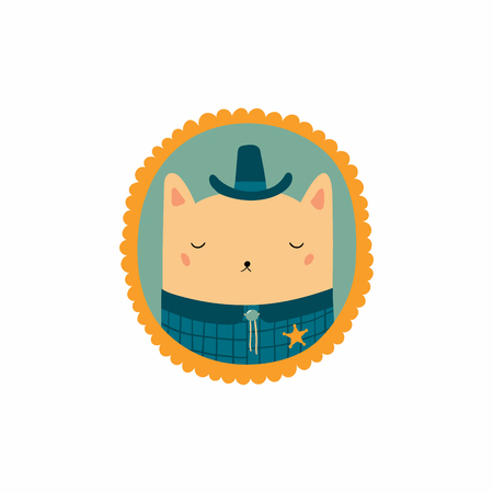 Hand drawn vector illustration of a cute funny portrait in a frame of sheriff cat. Isolated objects. Scandinavian style flat design. Concept for children print.