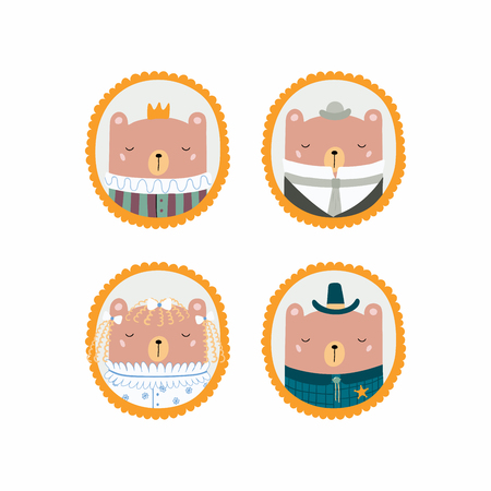 Set of hand drawn cute funny portraits in frames of bears, king, sheriff, Victorian gentleman, lady. Vector illustration. Isolated objects. Scandinavian style flat design. Concept for children print. Illustration