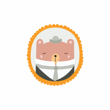 Hand drawn vector illustration of a cute funny portrait in a frame of Victorian gentleman bear. Isolated objects. Scandinavian style flat design. Concept for children print.