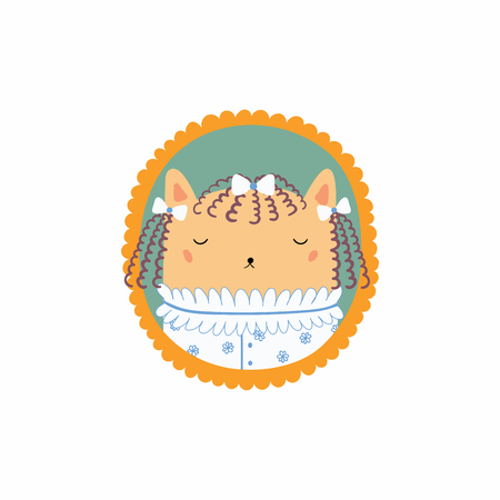 Hand drawn vector illustration of a cute funny portrait in a frame of Victorian young lady cat. Isolated objects. Scandinavian style flat design. Concept for children print.